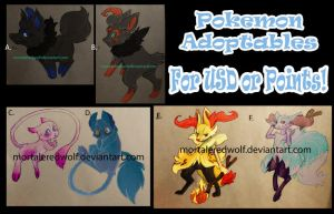 Pokemon Adoptables by MortaleRedWolf
