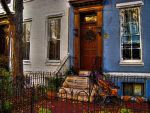 Blue Row House and Pumpkins by Jodonna
