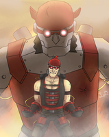 Red Classic TF2 Heavy and His Robot by His-Bushman