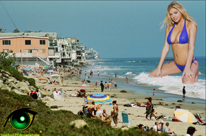 Giantess Kate Upton on the beach by ToxicEyeGTS