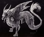 Scratchboard Dragon - PLEASE COMMENT! by RedAventador