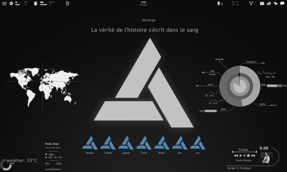 Abstergo Desktop with Rainmeter by Asterfly