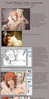Visual novel coloring tutorial by Puffsan