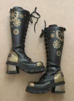 Steampunk painted leather clockwork cog boots by wraithwitch