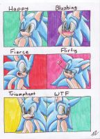 .:Sonic's Expressions-Colored:. by AzureDreamrealm