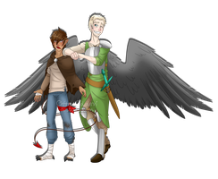 Grumpy half demon and his guardian angel by Ch4rm3d