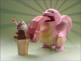 Lickitung Papercraft by Skele-kitty