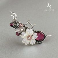 Little floral silver ear cuff with tourmaline by JSjewelry