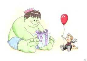 Hulk and Hawkeye by MikimusPrime