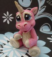 polymer clay pink unicorn by crazylittlecritters