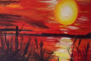 The Red Lake by MinimalImpressionist
