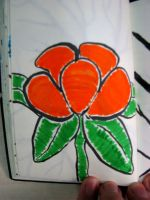 Orange flower in marker by ExcaliburZ