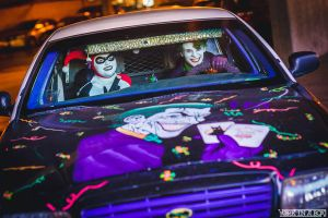 Joker and Harley in the Jokermobile by smile-xvillainco
