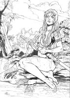 Red Sonja on the river by ReneMicheletti