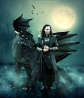 Loki and dragon (2) by AnnGeea