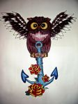 Owl and Anchor Painting by Mahna-Mahna