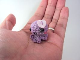 Mini Amigurumi Octie with Light Pink Heart Button by altearithe