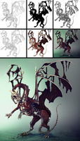 Paint a Zombie Dragon step by step by MonikaZagrobelna