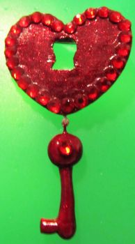 Lock heart with key broach by AnaInTheStars