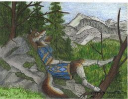 Wolf Anthro on Mountain by RussellTuller