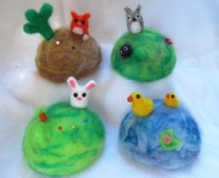 Needle Felted pin cushions 2.0 by P-isfor-Plushes