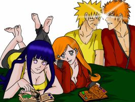 Naruto and Hinata visit Orihime and Ichigo by Okky-RightBrain
