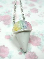 Miniature Food Rainbow Snow cone Necklace Centered by kawaiibuddies