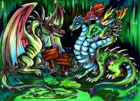 UberWyvern and uberHydra by AlienNocsastarino