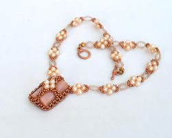Pink opal and pearl necklace N915 by Fleur-de-Irk