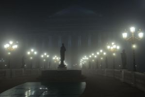 eye bridge on a foggy night, skopje by dardaniM