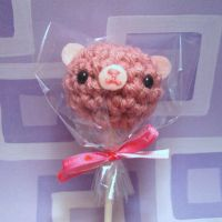 Berry Pink lollipop bear by amigurumikingdom
