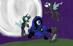 Luna killing Changelings by Conmankez