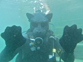 U/T in his new full face diving mask 2 by ScubaTiger