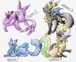 Eeveelutions X part 2 by CelestialTentails