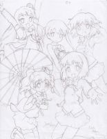 Kiniro Mosaic - Done drawing them by DennisLego
