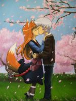 Holo and Lawrence-Sakura Kiss by Ronigirl