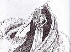 Dragon with girl by Black-Hearted-Poet