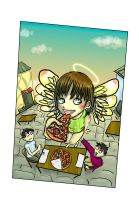 angel and pizza by Wohald