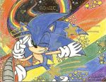 sonic on the rainbow road by SONICJENNY