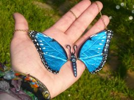 Morpho peleides - Necklace by Ganjamira