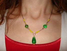 Green Pendant Necklace by shikerche
