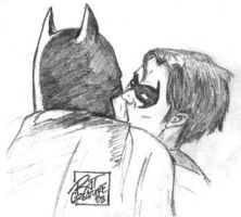 DC: Batman+Nightwing kiss by ratcreature
