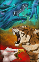 Eagle, Tiger and Dragon by Liraelwolf