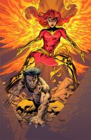 Wolvie n Phoenix in color by TomRaney