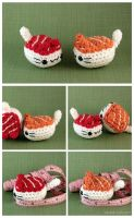 Maguro and Sake Nigiri Cats by pocket-sushi