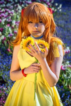 Asuka with Sunflowers by Misanthroph