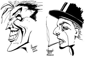 Joker and Penguin Sketches by Fellhauer