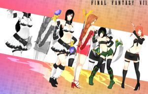 Commission - FF7 gals by Rush--it