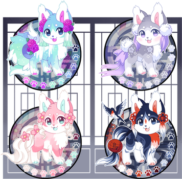 (CLOSED)Kitsunet Spring Adoptable Auction! by Miizue
