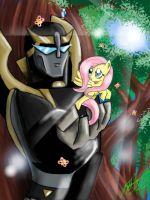 Prowl and Fluttershy by Ozerax